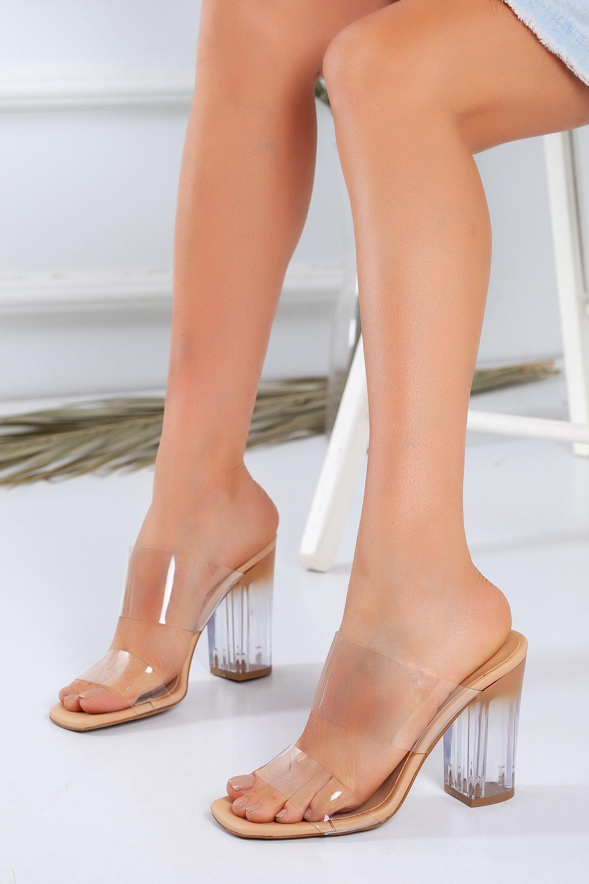 LUKKA Kadın Nude Şeffaf Topuklu Ayakkabı 1