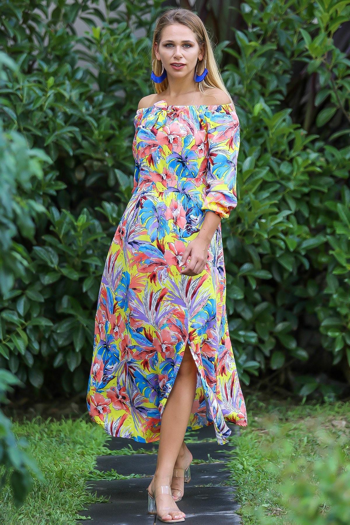 Chiccy Kadın Turuncu Bohem Carmen Yaka Sırtı Fermuar Detaylı Yırtmaçlı Uzun Elbise M10160000El96499