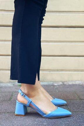 STRASWANS Kadın Bebe Mavi  Deri Topuklu Ayakkabı