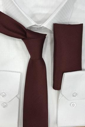 Quesste Accessory Armür Dokumalı Bordo Noktalı Mendilli Ince Kravat 6 cm