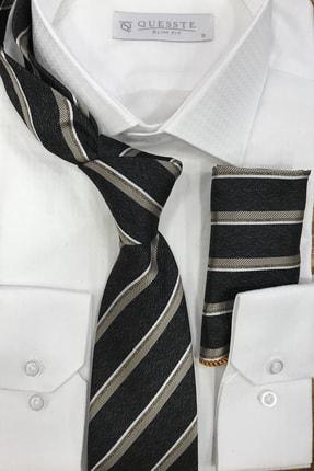 Quesste Accessory Çizgli Mendilli Siyah Kravat 8 cm