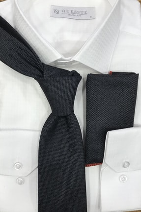 Quesste Accessory Erkek Gri Armürlü Noktalı Desenli Mendilli Kravat 8 cm