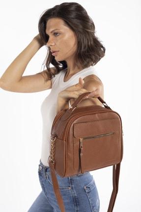 Madamra Aynı Butikte 2.Ürün 1 TL Taba Kadın Çok Bölmeli Omuz Çantası Çapraz Çanta ve El Çantası