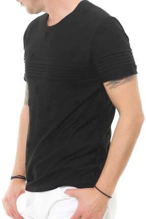 Cazador Erkek Yırtık Desenli Yuvarlak Yaka Tişört Caz 4063