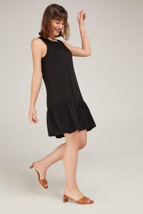 Appleline Kadın Siyah Eteği Fırfırlı Kolsuz Viskon Elbise