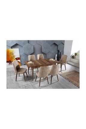 Stoker VELAR Premıum yemek odası,yemek masa takımı 6 sandalyeli ahşap ayaklı