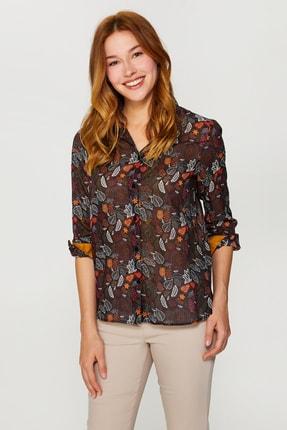 Faik Sönmez Kadın Siyah Desenli Uzun Kollu Vual Gömlek 60080 U60080