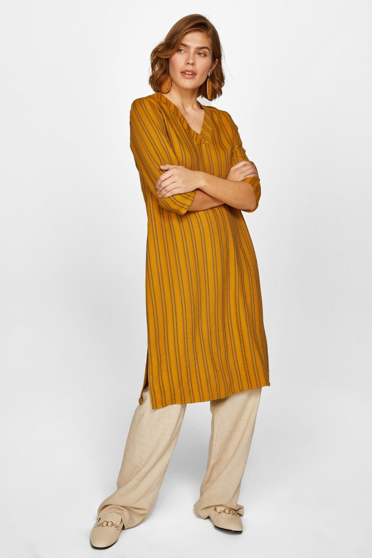 Faik Sönmez Kadın Asit Çizgili V Yaka Dokuma Elbise 60274 U60274 1