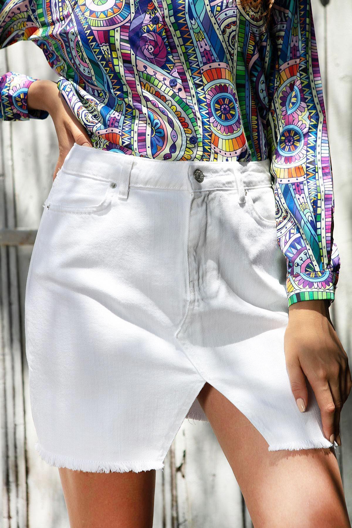 Y-London Kadın Beyaz Önü Yırtmaç Detaylı Cepli Kot Etek Y20S125-4001 2