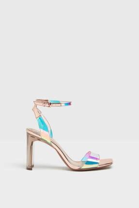 Bershka Kadın Altın Renk Hologram Desenli  Vinil Topuklu Ayakkabı