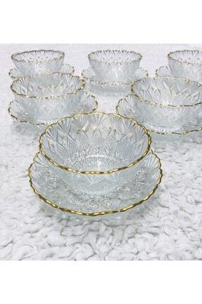 AROW Kristal Gold Yaldızlı 12 Parça 6 Kişilik Sunumluk Çerezlik