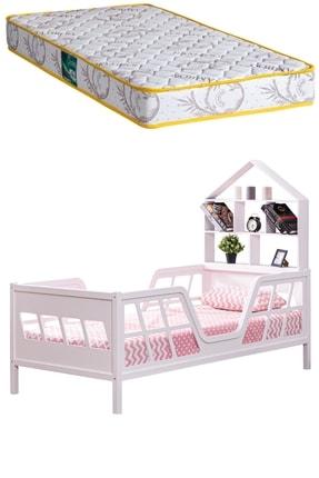 Setay Montessori Yatak, Full Mdf Pembe , Viva Montessori Karyola Kitaplıklı + Comfort Ortopedik Yatak