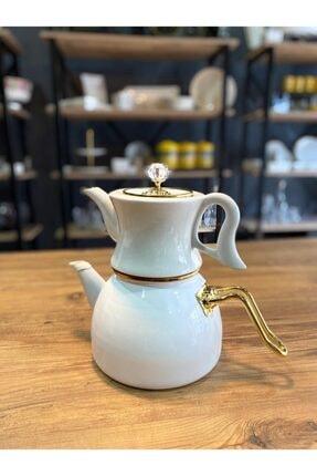 Dufy Emaye Porselen Çaydanlık Seti - Beyaz