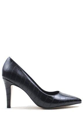 Buffalo Croco Desıgn Black Topuklu Ayakkabı