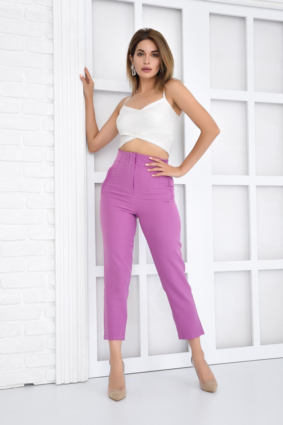 İroni Pileli Yüksek Bel Lila Pantolon 2