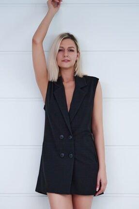 That's It Kadın Siyah Sırt Dekolteli Düğme Detayli Ceket Elbise
