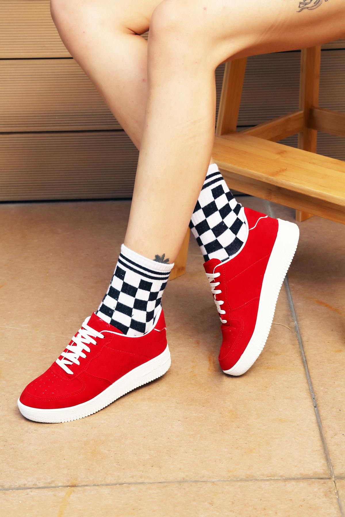 Ayakkabı Modası Kadın Kırmızı Spor Ayakkabı 1