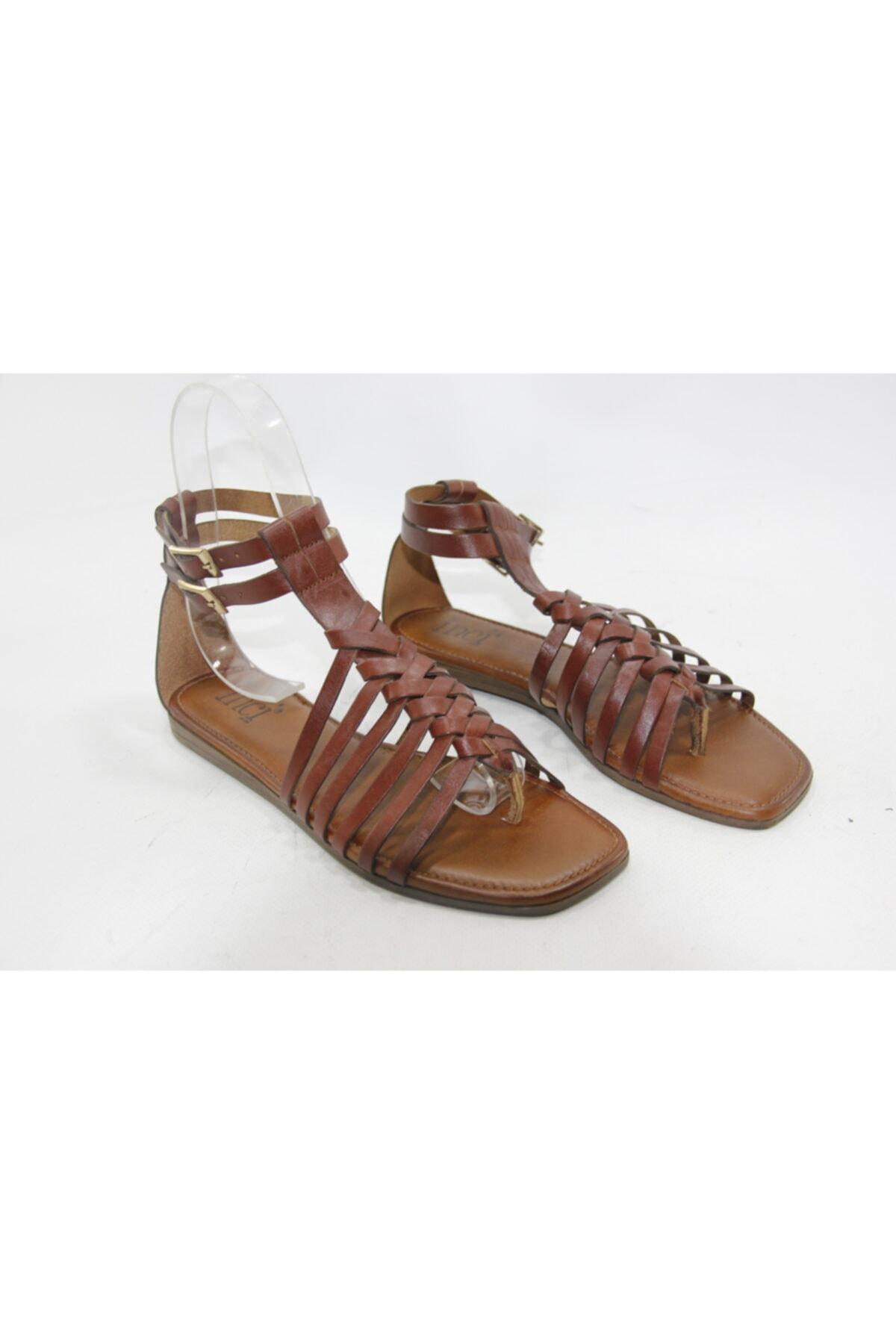 İnci Kadın Kahve 38 Numara Hakiki Deri Sandalet Ayakkabı 1