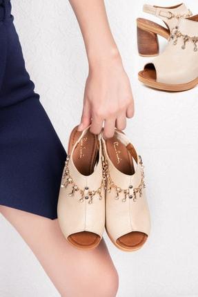 Gondol Hakiki Deri Taşlı Topuklu Ayakkabı