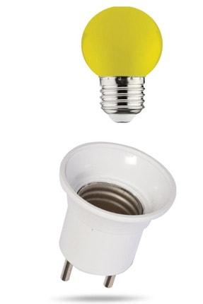 MAKEL Duy Fişli + 1w Enerji Tasarruflu Duylu Renkli Led Gece Lambası Ampulu Sarı Işık