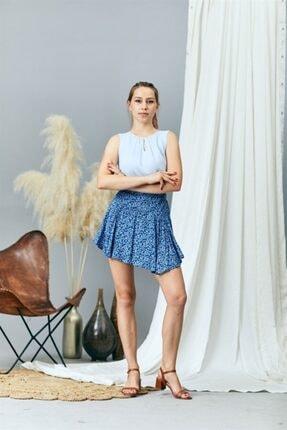 Prego Kadın Mavi Desenli Şort Etek