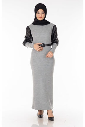 Tp Tesettür Pazarı Kadın Gri Kolu Derili Tesettür Elbise Nva1577-4