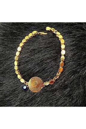 ALTINDOLABIM Kadın Altın Kaplama Arpa Zincirli Çeyrek Altın Lı Bileklik -