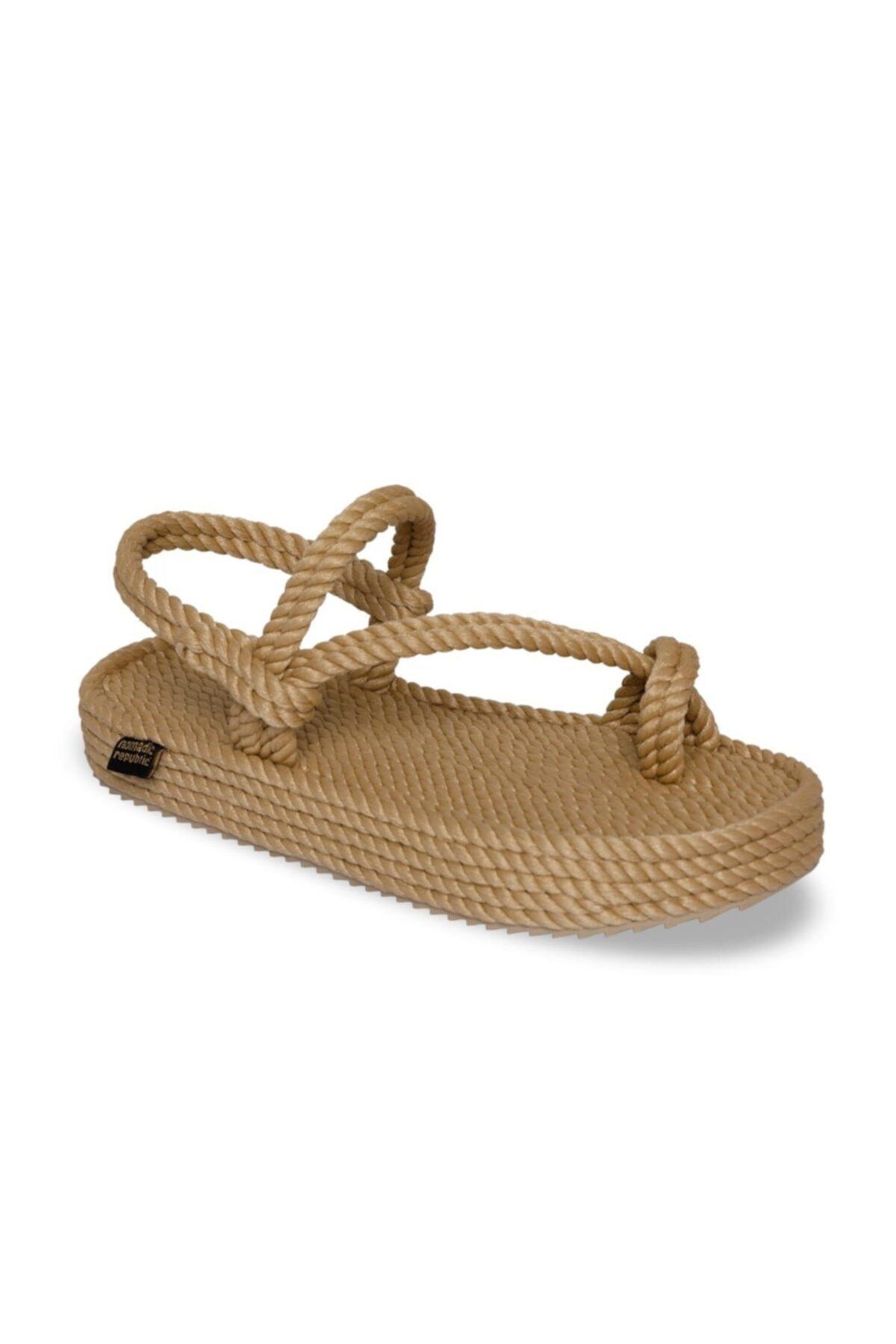 Nomadic Republic Hawaii Platform Kadın Halat & İp Sandalet - Bej 1