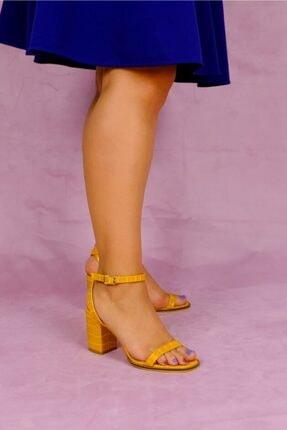 Rollerbird Caiman Sarı Kroko Topuklu Ayakkabı
