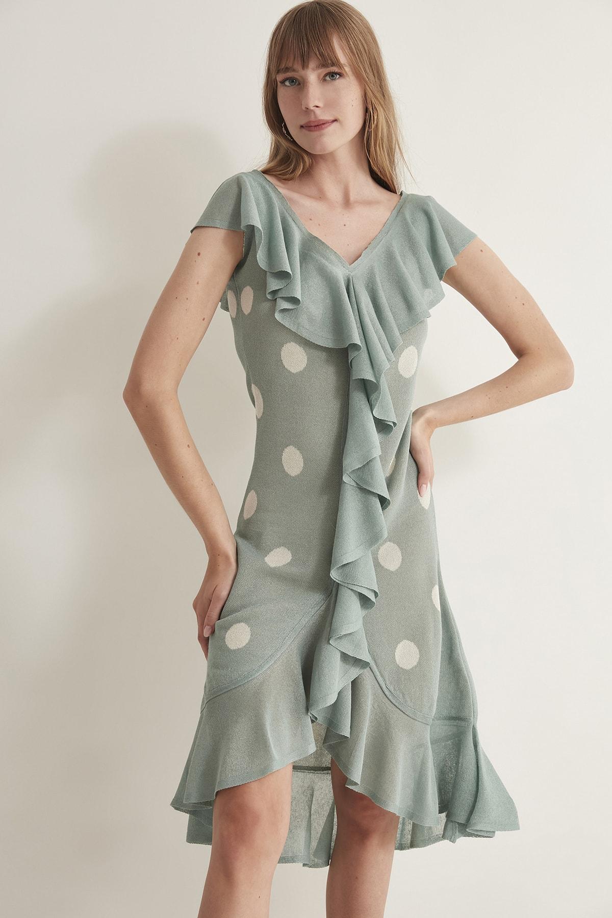 JOIN US Kadın Puantiyeli Fırfırlı V Yaka  Triko Elbise-Mint 2020S079 2