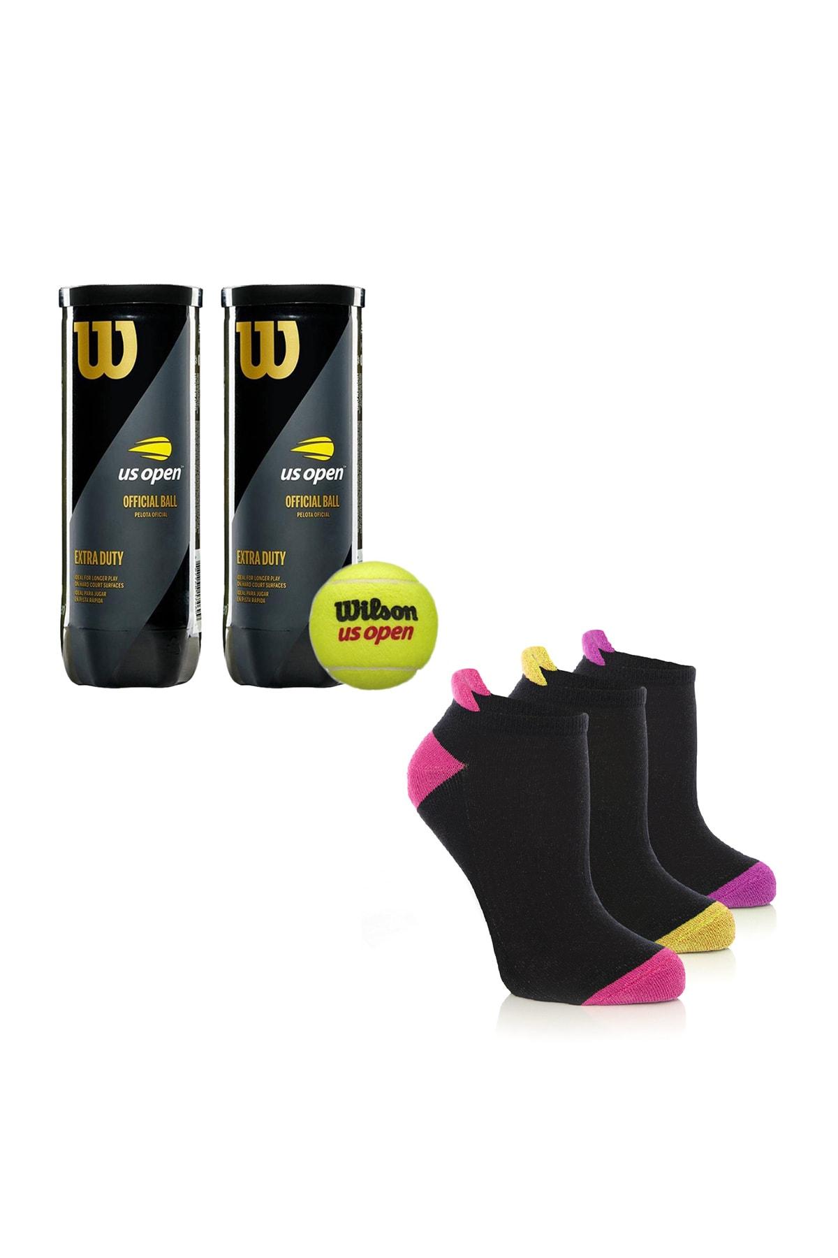 Wilson Us Open 2 Kutu  tenis Topu Vakum Ambalajda ve MURR 3'lü paket Kadın  Profesyonel Tenis Çorabı