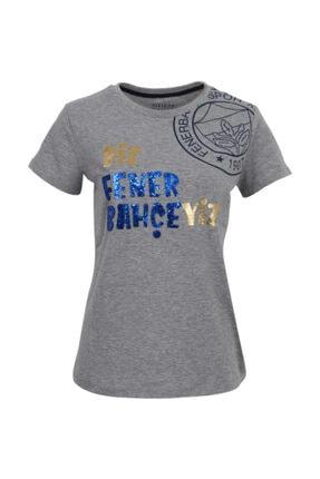 Fenerium Kadın Gri Simli Yazılı T-shirt