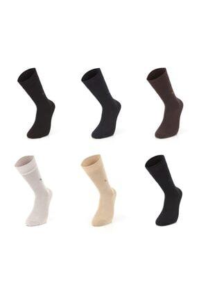 Mısırlı Erkek Karışık Renkli Modal Desenli Dikişsiz Çorap 6'lı M1803