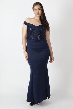 Şans Kadın Lacivert Yaka Deyaylı Payet İşli Kuplu Uzun Abiye Elbise 65N17011