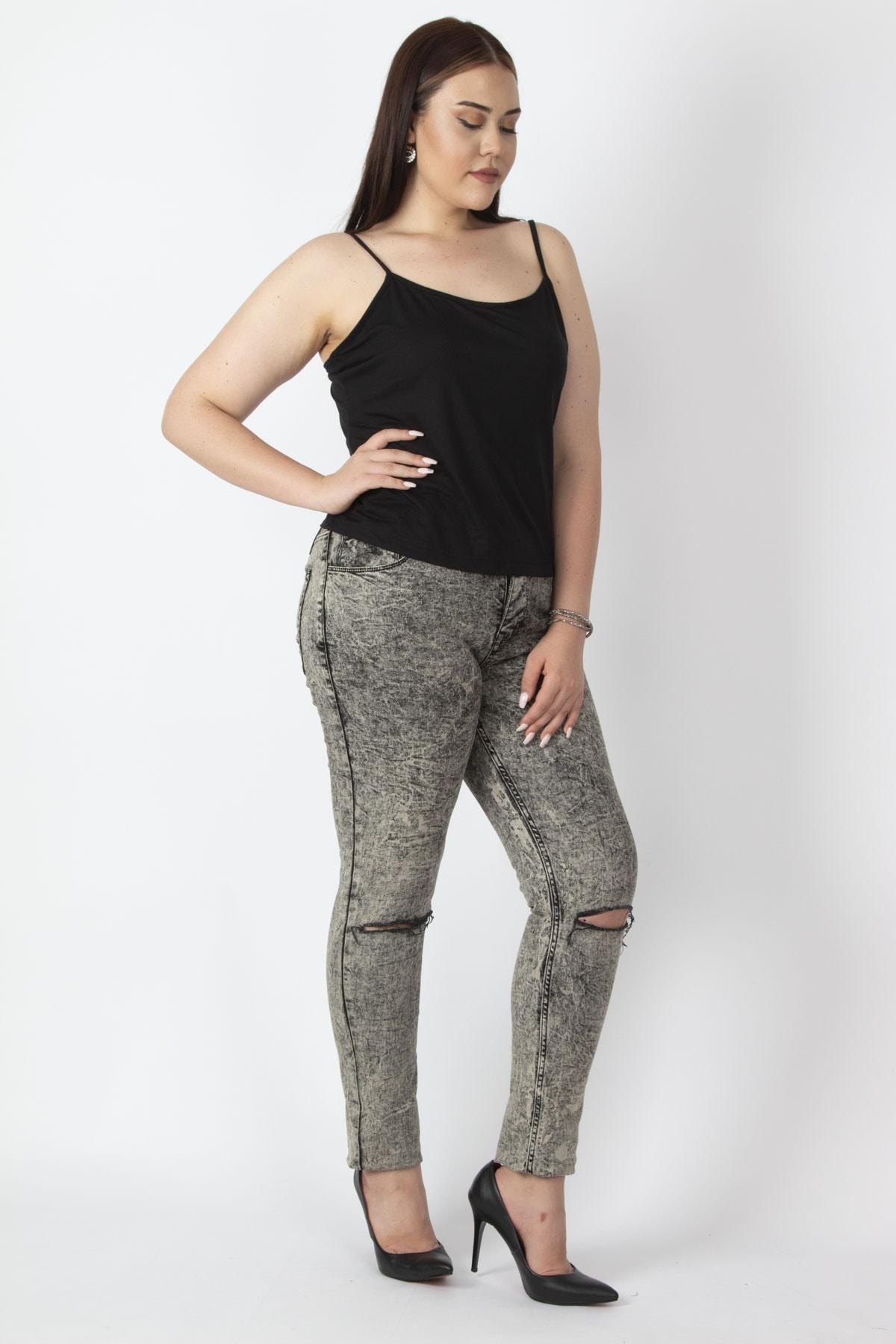 Şans Kadın Bej Yıkama Efektli Yırtık Detaylı Kot Pantolon 65N17044 2