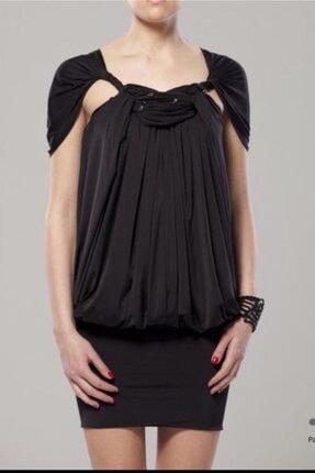 GİZİA Kadın Siyah Omuz Detaylı Midi  Abiye Elbise