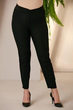 eyisabutik Beli Lastikli Büyük Beden Siyah Kumaş Pantolon Pantolon