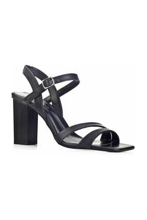 Cabani 10 cm Topuklu Bantlı Toka Detaylı Küt Burunlu  Kadın Ayakkabı Siyah Deri