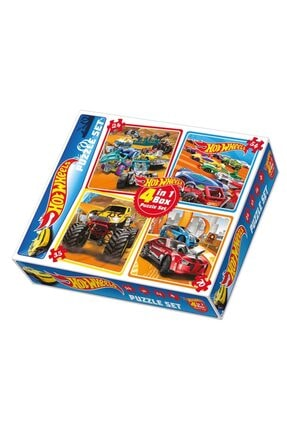 HOT WHEELS Lisanslı 4 in 1 Box Puzzle 24+54+35+70 Parça