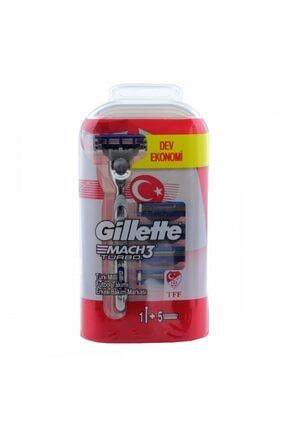 Gillette Mach3 Turbo Tıraş Makinesi + 5 Yedek Bıçak Milli Takım Özel Paketi