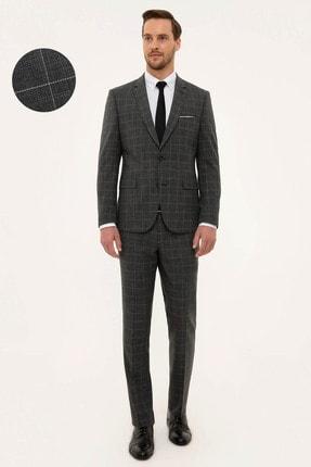 Pierre Cardin Erkek Ekose Gri Slim Fit Takım Elbise