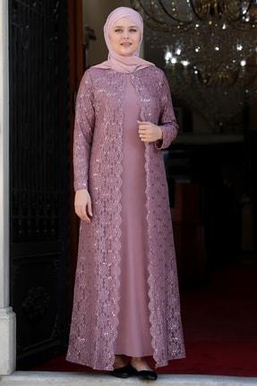 TesetturHome Kadın Pembe Papatya Abiye Elbise