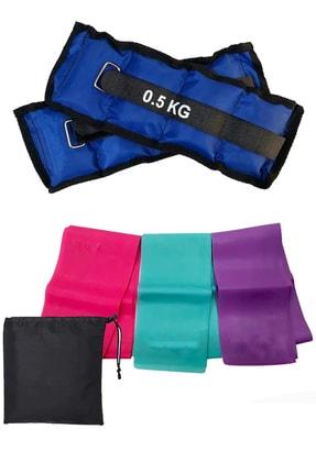 Jet Çantalı 3 Lü Pilates Bandı Hafif Orta Sert Direnç Pilates Lastiği Ve 0.5 Kg Bilek Ağırlığı Seti