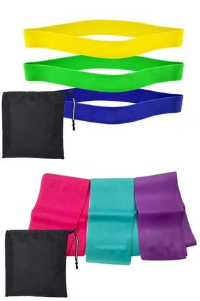 Jet Full Direnç Seti Çantalı 3 Lü Pilates Lastiği Hafif Orta Zor + Çantalı 3 Direnç Squat Aerobik Bandı