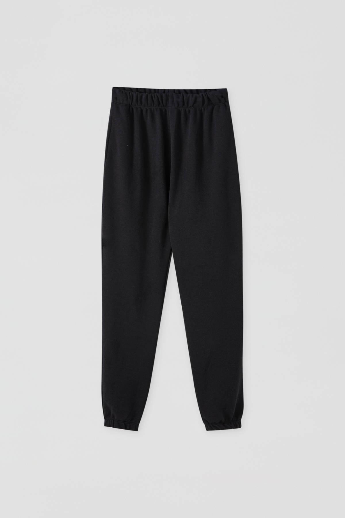 Pull & Bear Kadın Siyah Elastik Paçalı Jogging Fit Pantolon 09672315 1