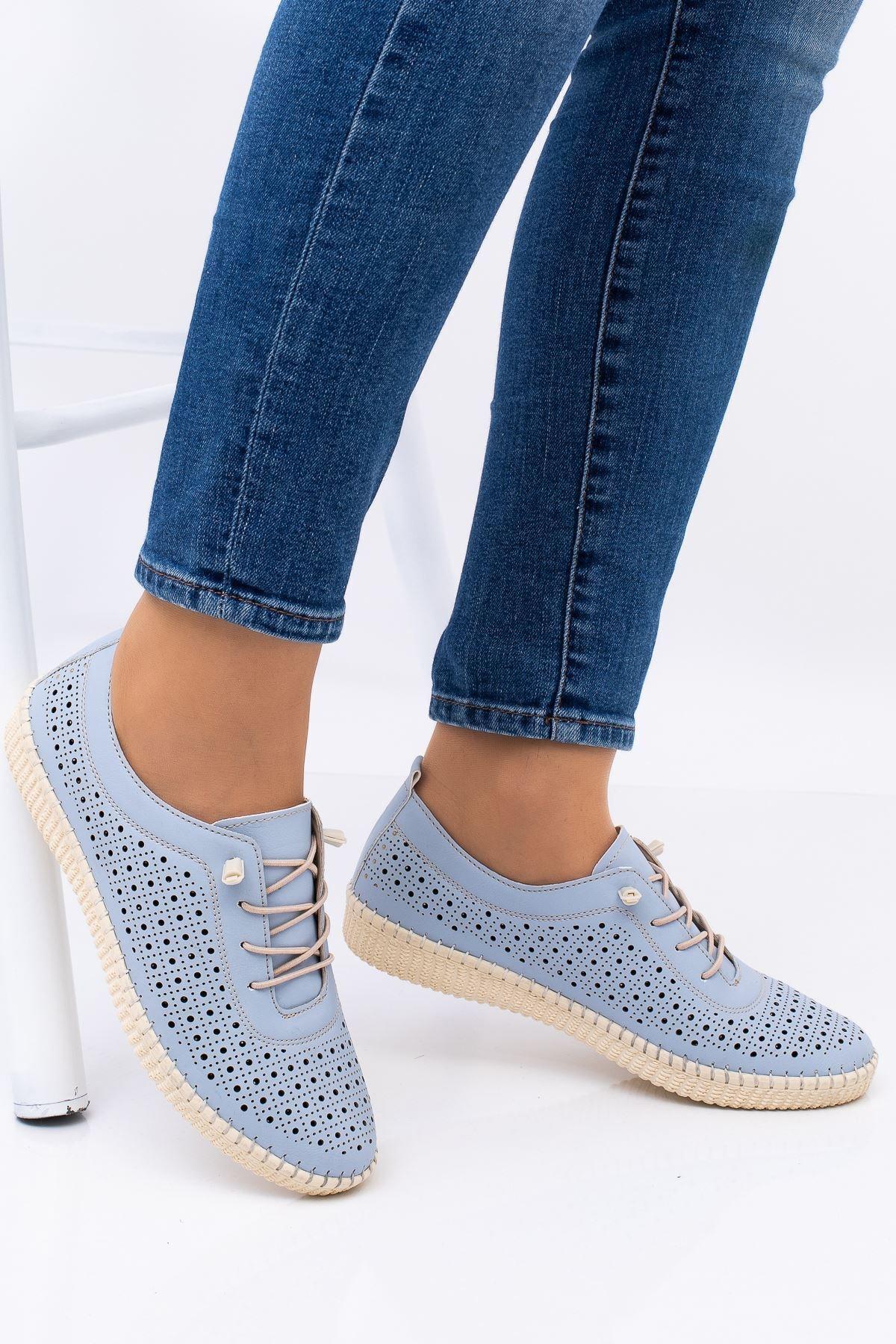 Hoba Kadın Mavi Ortopedik Delikli İpli İçi Deri Alçak Topuk Günlük Rahat Ayakkabı 1