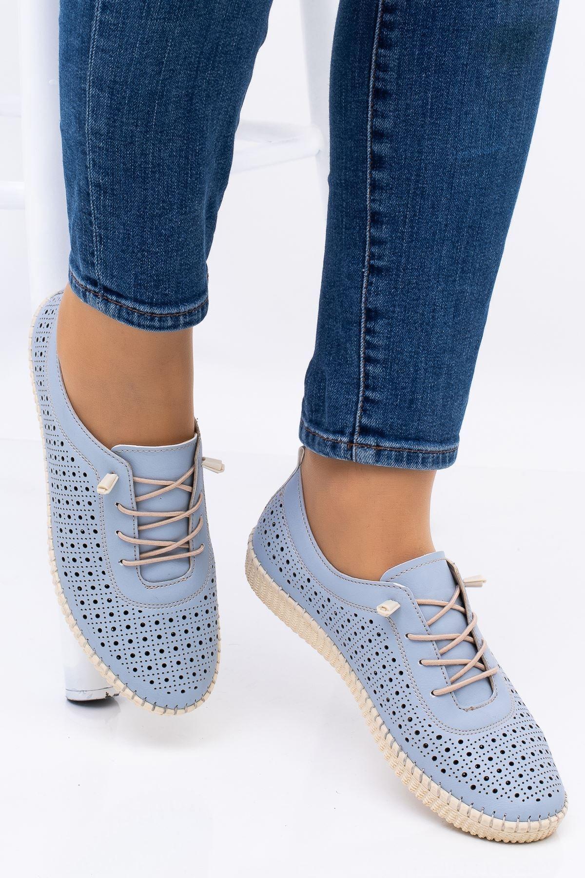 Hoba Kadın Mavi Ortopedik Delikli İpli İçi Deri Alçak Topuk Günlük Rahat Ayakkabı 2