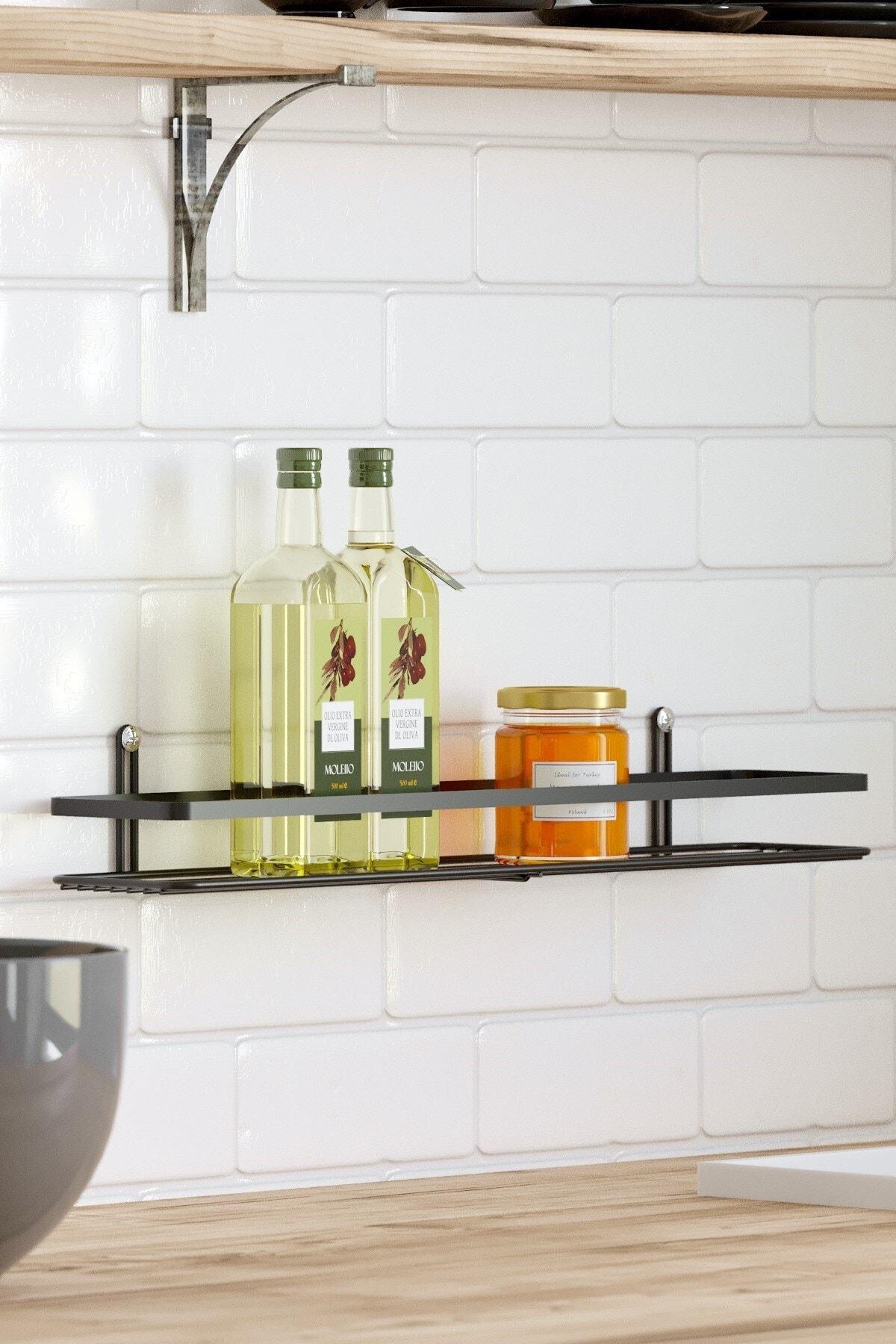 Teknotel Tek Katlı Banyo & Mutfak Rafı Mat Siyah Es064 1