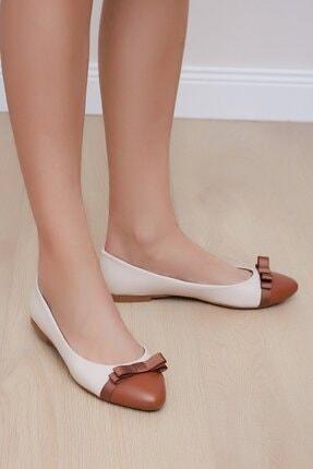 Shoes Time Kadın Bej Taba Babet 19y K05