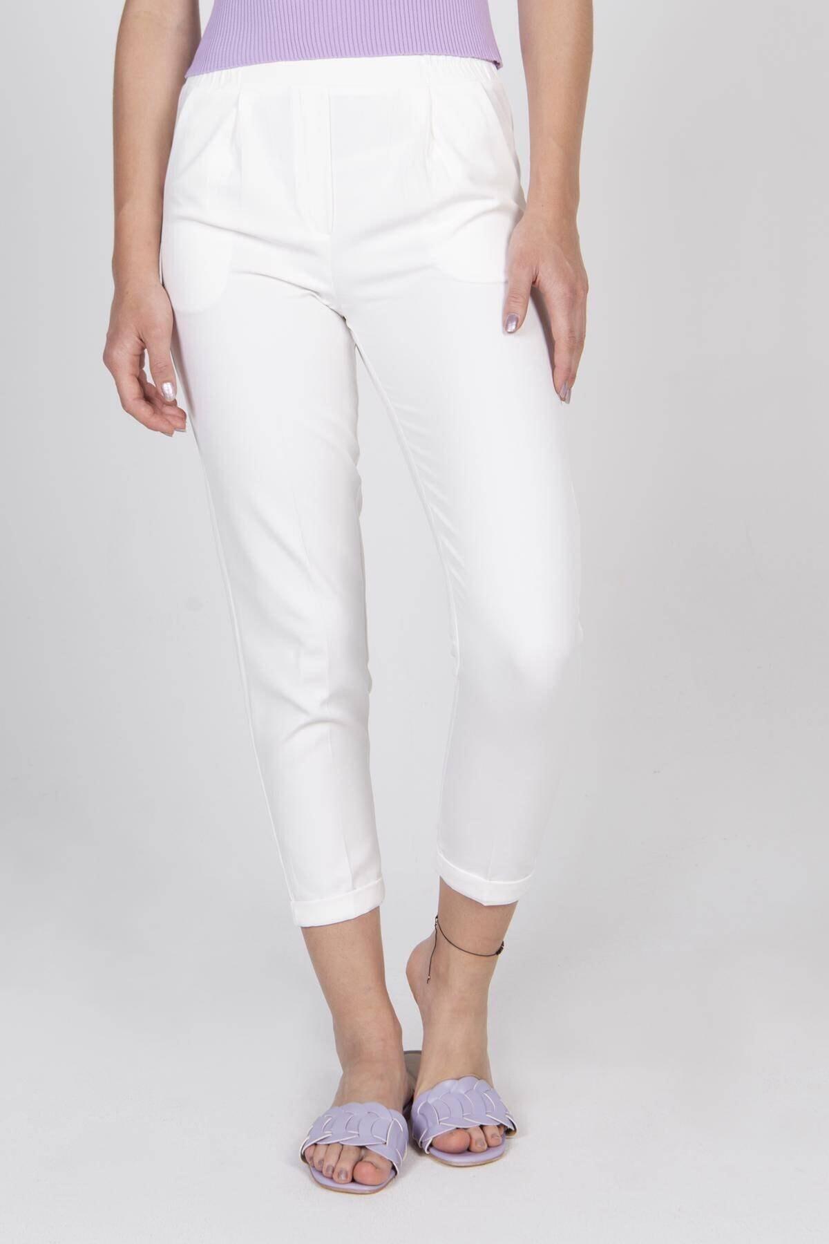 Addax Kadın Beyaz Belmando Pantolon Pn4508 - A4 Adx-00007146 1